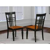 Canora Grey East West Furniture Logan Dining Chairs Set - Wooden Seat & Black Hardwood Frame Dining Chair Set Of 2 in Black/Brown | Wayfair