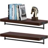 Latitude Run® Floating Shelves Wall Mounted, Composite Wood Wall Shelves w/ Towel Bar in Brown, Size 2.8 H x 5.9 W x 15.8 D in   Wayfair