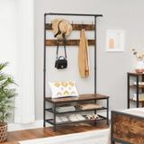 "17 Stories ALINRU Coat Rack, Entryway Shoe Bench Stand Storage Shelves Accent Furniture Steel Frame, Industrial, 39.4"", Rustic in Brown   Wayfair"