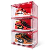 Rebrilliant 3 Pack Shoe Boxes Clear Shoe Display Organizer Plastic Shoe Container Magnetic Side Open Stackable Shoe Boxes in Red   Wayfair