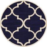 Red Barrel Studio® Unique Loom Trellis Collection Moroccan Lattice Round Rug in Blue/White, Size 72.0 W x 0.5 D in | Wayfair