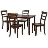 Red Barrel Studio® 5-Piece Kitchen Dining Table Set Wood Table & Chairs Set in Brown | Wayfair A6B40BD355DF41B9B51D5C8FA8B4B0D3