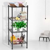 Rebrilliant 4 Tier Storage Shelves, Adjustable Height Metal Shelve, w/ Leveling Feet, Chrome Kitchen Shelves Unit, For Kitchen, Living Room in Black