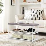 Wrought Studio™ Shoe Bench, 3-tier Shoe Rack For Entryway, Storage Organizer w/ Foam Padded Seat (gray) in Gray/White   Wayfair