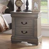 """Darby Home Co 21""""Traditional Wooden Bedroom Nightstand w/ 2 Drawers In Cherry Wood in Gray, Size 24.0 H x 21.0 W x 15.0 D in   Wayfair"""