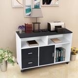 Latitude Run® Freestanding Bookshelf Standard Bookcase, Drawers Movable Wheels Cabinets Documents Folders Storage Shelves Living Room Office in White