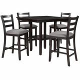 Red Barrel Studio® 5-Piece Wooden Counter Height Dining Set w/ Padded Chairs & Storage Shelving Wood/Upholstered Chairs in Black, Size 35.7 H in