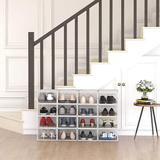 Rebrilliant Clear Shoe Storage Organizer Stackable 12 Pack, Plastic Shoe Box w/ Front Door & Ventilation Back, Size 5.5 H x 9.0 W x 13.1 D in
