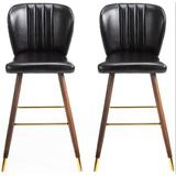 Everly Quinn Bar Stools Set Of 2, Leather Bar Height Stools For Kitchen Counter, Counter Stools w/ Back & Rubber Wood Legs in Black/Brown | Wayfair