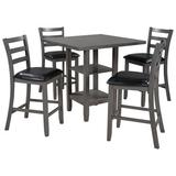 Red Barrel Studio® 5 Piece Wooden Counter Height Dining Set Square Dining Table w/ 2 Tier Storage Shelving & 4 Padded Chairs in Gray, Size 36.2 H in