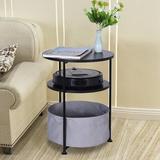 Ebern Designs Round Side Table w/ Shelf & Fabric Storage Basket in Black, Size 20.87 H x 16.14 W x 16.14 D in | Wayfair