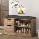 Millwood Pines Shoe Storage Bench w/ 2-Storey Shelf & 2 Drawers Manufactured Wood in Brown, Size 19.7 H x 31.5 W x 11.8 D in | Wayfair