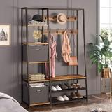 """17 Stories Hall Tree w/ Storage Bench, 5-In-1 Entryway Shelf w/ Coat Rack, 70.8"""" Coat Stand w/ 5 Side Shelves, 2 Foldable Storage Cubes in Brown"""