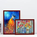 Latitude Run® Picture Frame Diamond Painting Art Kit Diamond Painting Picture Or Photograph, Natural Solid Wood Wall Hanging Picture Frame in Red