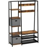 """17 Stories W/ Storage Bench, 5-In-1 Entryway Shelf w/ Coat Rack, 70.8"""" Coat Stand w/ 5 Side Shelves, 2 Foldable Storage Cubes in Brown 