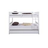 Harriet Bee Bunk Beds Full Over, Solid Wood Full Bunk Bed w/ Trundle, Detachable Loft Bed For & Teens, Bedroom Furniture Set Wood in White   Wayfair