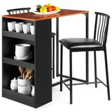 17 Stories 3-Piece 36In Wooden Counter Height Dining Table Set For Kitchen, Dining Room W/Storage Shelves, Metal Frame, 2 Barstools - Espresso