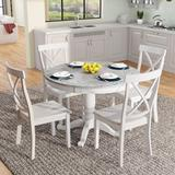 Red Barrel Studio® 5 Pieces Dining Table(Espresso)+ Wood in White, Size 29.9 H in   Wayfair 1340FC6E907449FFBAA2B69D591236D0