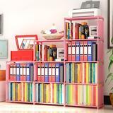 Rebrilliant 9-Cubes Bookshelf, 4 Tier Shelf Adjustable Bookcases For Kid in Pink, Size 49.0 H x 46.5 W x 11.0 D in   Wayfair