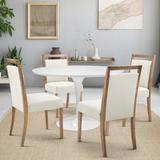 Gracie Oaks 5 Piece Dining Set Wood/Metal/Upholstered Chairs in White, Size 29.0 H in | Wayfair 005CBC425C0F4D729DC954D50ECBF542