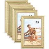 """Red Barrel Studio® Lecroy 6 Piece 4"""" x 6"""" Polyresin Gallery Wall Frame Set in Yellow, Size 6.75 H x 4.75 W x 0.6 D in 