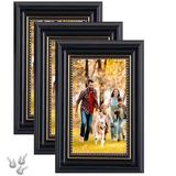 """Canora Grey Dogra 3 Piece 8"""" x 10"""" Polyresin Gallery Wall Frame Set in Black, Size 12.5 H x 10.5 W x 0.8 D in 