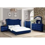 Rosdorf Park C33FD0051399450BA145EE3B8690207F Upholstered in Blue, Size Queen | Wayfair 2010F97E7CA54857852FD6F9A2495655