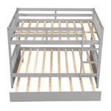 Harriet Bee Bunk Beds Full Over, Solid Wood Full Bunk Bed w/ Trundle, Detachable Loft Bed For & Teens, White, Bedroom Furniture Set Wood in Gray