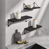 Latitude Run® Floating Shelves Wall Mounted Set Of 3, Rustic Wood Wall Shelves For Living Room, Bedroom, Bathroom,Office Wood in Black   Wayfair