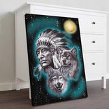 Bungalow Rose Native American w/ Wolves Gallery Wrapped Canvas - Native American Art Illustration Decor, Grey & Blue Home Decor Canvas & Fabric