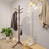 Charlton Home® Free Standing Coat Rack, Wooden Coat Hat Tree Coat Hanger Holder Coat Hook Entryway Hall Tree w/ Solid Rubber Wood Base, 10 Hooks