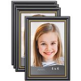 """Red Barrel Studio® Magers 4 Piece 4""""x 6"""" Polyresin Gallery Wall w/ Frame Set in w/ Gold Trim in Black, Size 6.9 H x 4.9 W x 0.5 D in 