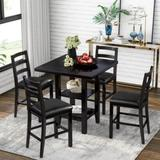 Red Barrel Studio® Valorie 5-Piece Wooden Counter Height Dining Set, Square Dining Table w/ 2-Tier Storage Shelving & 4 Padded Chairs in Brown