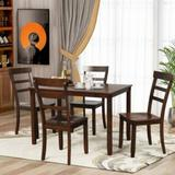 Red Barrel Studio® Valorie 5-Piece Kitchen Dining Table Set Wood Table & Chairs Set () Wood in Brown, Size 30.0 H in | Wayfair