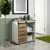 Gracie Oaks Sliding Slat Door Accent Cabinet, Ding Single Slat Door Storage Console in White, Size 32.3 H x 31.1 W x 15.6 D in   Wayfair