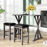 Rosalind Wheeler 3-Piece Counter Height Wood Kitchen Dining Table Set w/ 2 Stools For Small Places Wood/Upholstered Chairs in Gray, Size 36.0 H in