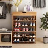 Rebrilliant 5-Tier Shoe Rack 29.5 Inches Wooden Shoe Storage Shelf Shoe Organizer, Black in Green, Size 37.2 H x 29.5 W x 9.4 D in | Wayfair
