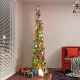 The Holiday Aisle® 5 Feet Tinsel Christmas Tree Pop Up Pre-Lit Christmas Tree Sequins Balls Ornaments Metal Stand Holiday Xmas Decorations Indoor Home Party