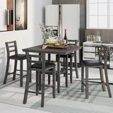 Red Barrel Studio® 5-Piece Wooden Counter Height Dining Set w/ Padded Chairs & Storage Shelving Wood/Upholstered Chairs in Gray, Size 35.7 H in