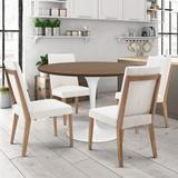 Gracie Oaks 5 Piece Dining Set Wood/Metal/Upholstered Chairs in Brown, Size 29.0 H in | Wayfair E4A57031301F4323BDB3EFE914A1ECCC