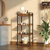 17 Stories 4-Tier Storage Rack, Rustic Free-Standing Shelf Units, Narrow Display Wood Shelves w/ Top Edge Metal Frame in Brown   Wayfair