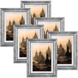 "Gracie Oaks Conchur 6 Piece 5"" X 7"" Polyresin Gallery Wall Art Frame Set in Silver in Gray/White, Size 9.5 H x 7.5 W x 0.65 D in | Wayfair"
