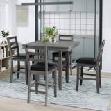 Red Barrel Studio® Valorie 5-Piece Wooden Counter Height Dining Set w/ Padded Chairs & Storage Shelving, Gary Wood/Upholstered Chairs in Gray