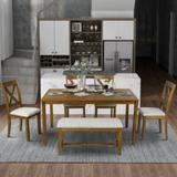 Gracie Oaks Connal 6-Piece Kitchen Dining Table Set Wooden Rectangular Dining Table in Brown, Size 30.0 H in   Wayfair