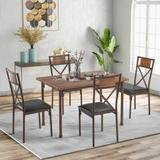 Gracie Oaks Connal Wooden Dining Table w/ Matching Padded Chairs, 5-Piece Dining Set For Family, Brown Wood/Metal/Upholstered Chairs, Size 30.0 H in