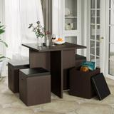 Latitude Run® Ishpeming 5-Piece Dining Set w/ Storage Ottoman, Faux Wood Table & 4 Ottomans, Beige Wood/Upholstered Chairs in Brown, Size 30.0 H in