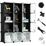 Rebrilliant Cube Storage Organizer, Plastic Closet Organizer w/ Doors, 12-Cube Storage Cubes Organizer, Modular Storage Cabinet Book Shelf Shelving