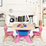 Zoomie Kids Children Kids Activity Table & Chair Set Play Furniture W/Storage-Blue Plastic in Pink, Size 20.0 H x 27.0 W in   Wayfair