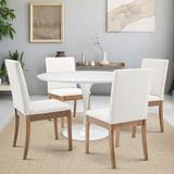 Gracie Oaks 5 Piece Dining Set Wood/Metal/Upholstered Chairs in White, Size 29.0 H in | Wayfair D11CDFF5FDDF49E382334527691C9A26