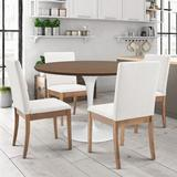 Gracie Oaks 5 Piece Dining Set Wood/Metal/Upholstered Chairs in Brown, Size 29.0 H in | Wayfair C0712C9182BE45FFA88B745CD51E6F41